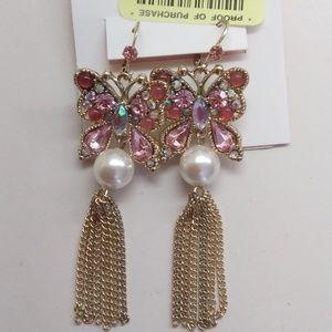 Betsey Johnson New Pink Butterfly & Pearl Earrings